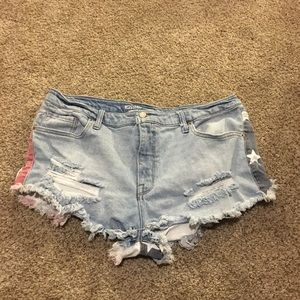 Mossimo distressed American flag shorts size 18